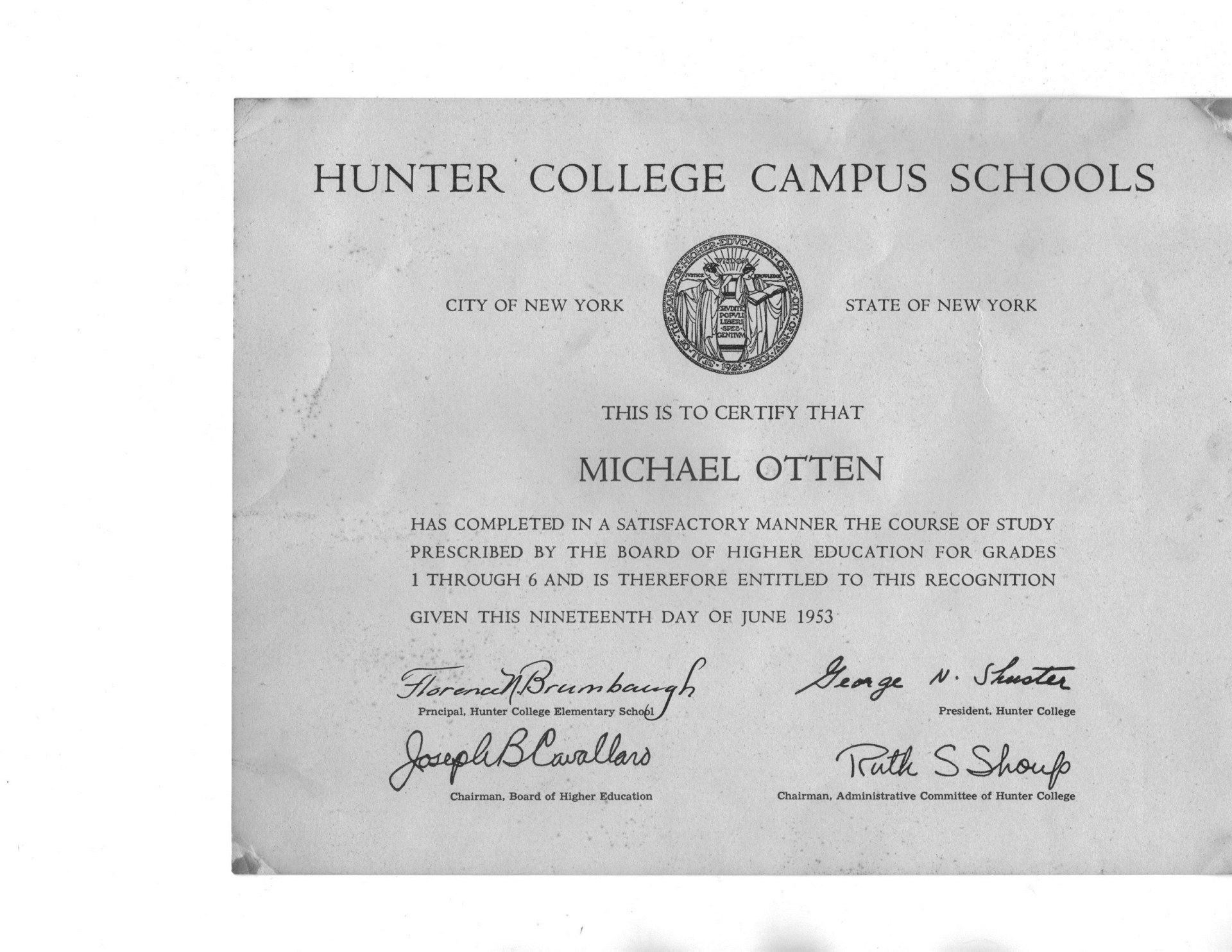 Hunter Diploma 1953 Otten