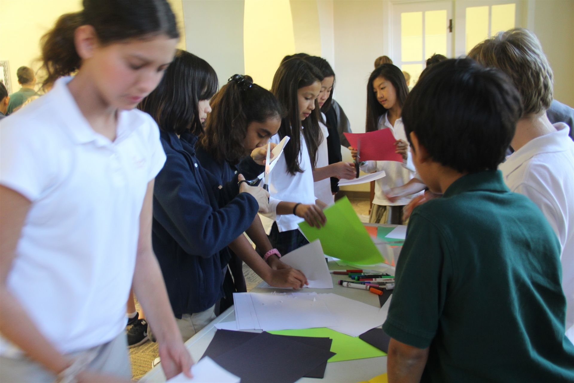 Middle Schoolers made holiday cards for senior citizens.