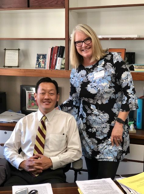 Incoming Head Ron Kim with 2018-2019 Interim Head of School Carol Barry