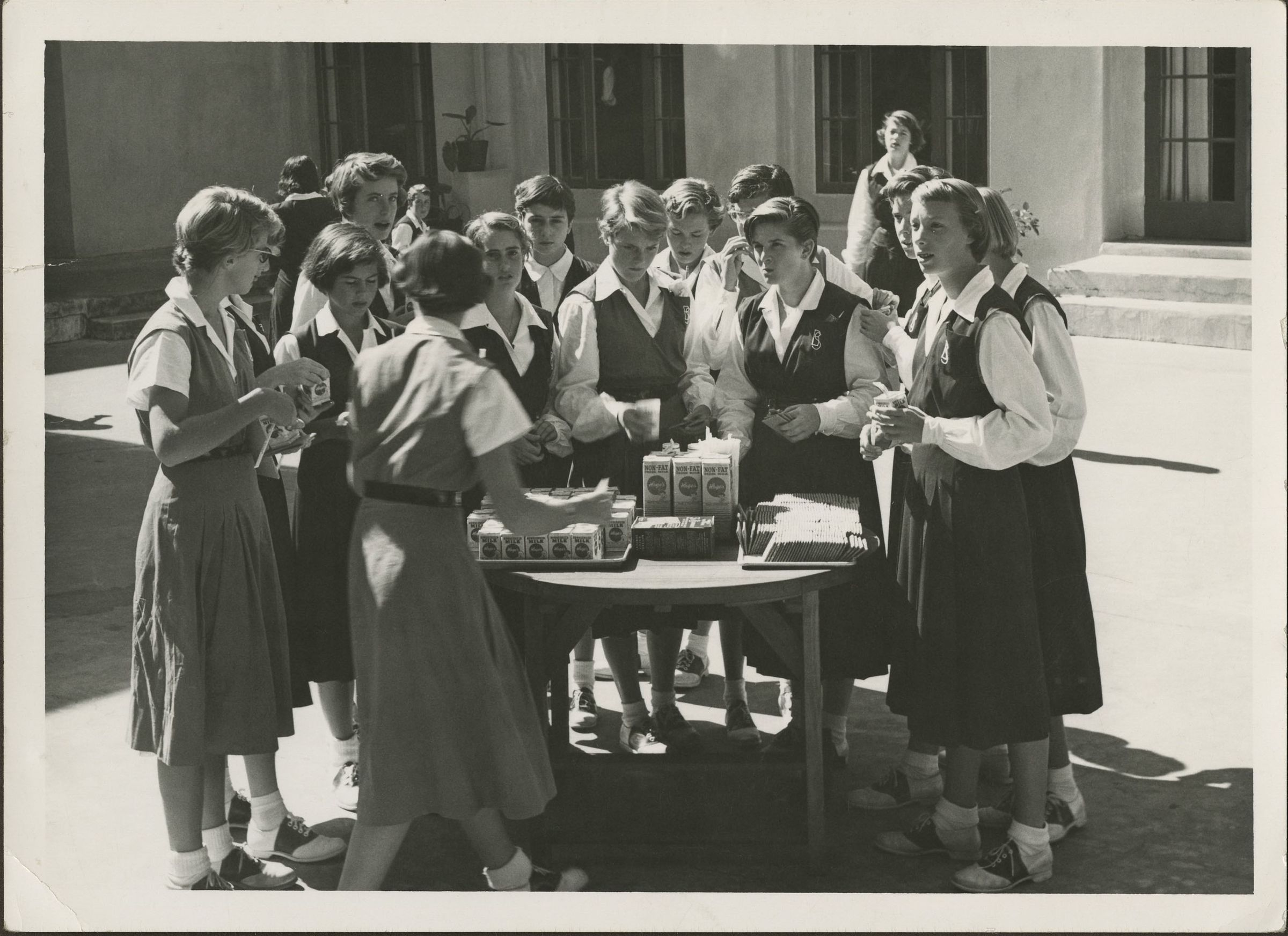 Students enjoyed Milk Break with graham crackers in the late 1950s.