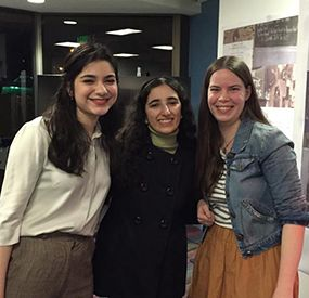 Sabrina Katz '19, Maya Menachem '19 and Playwright Margot Connolly