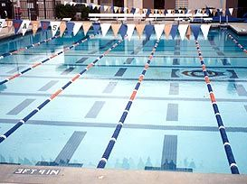 The Becker Aquatics Center is an outdoor six lane 25-meter pool with lights. There is no diving well. An adjoining weight room is equipped with free weights and several stations for squat and bench press. Lockers rooms are conveniently located adjacent to the pool. Spectator stands will seat approximately 50 people.