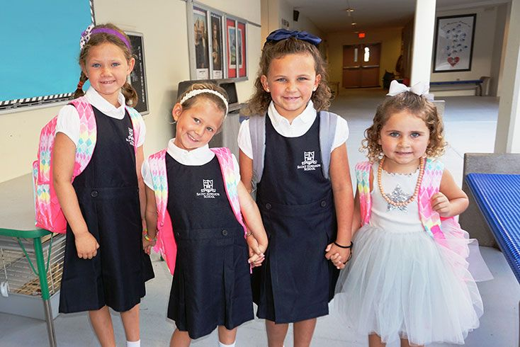 4 girls ready for school