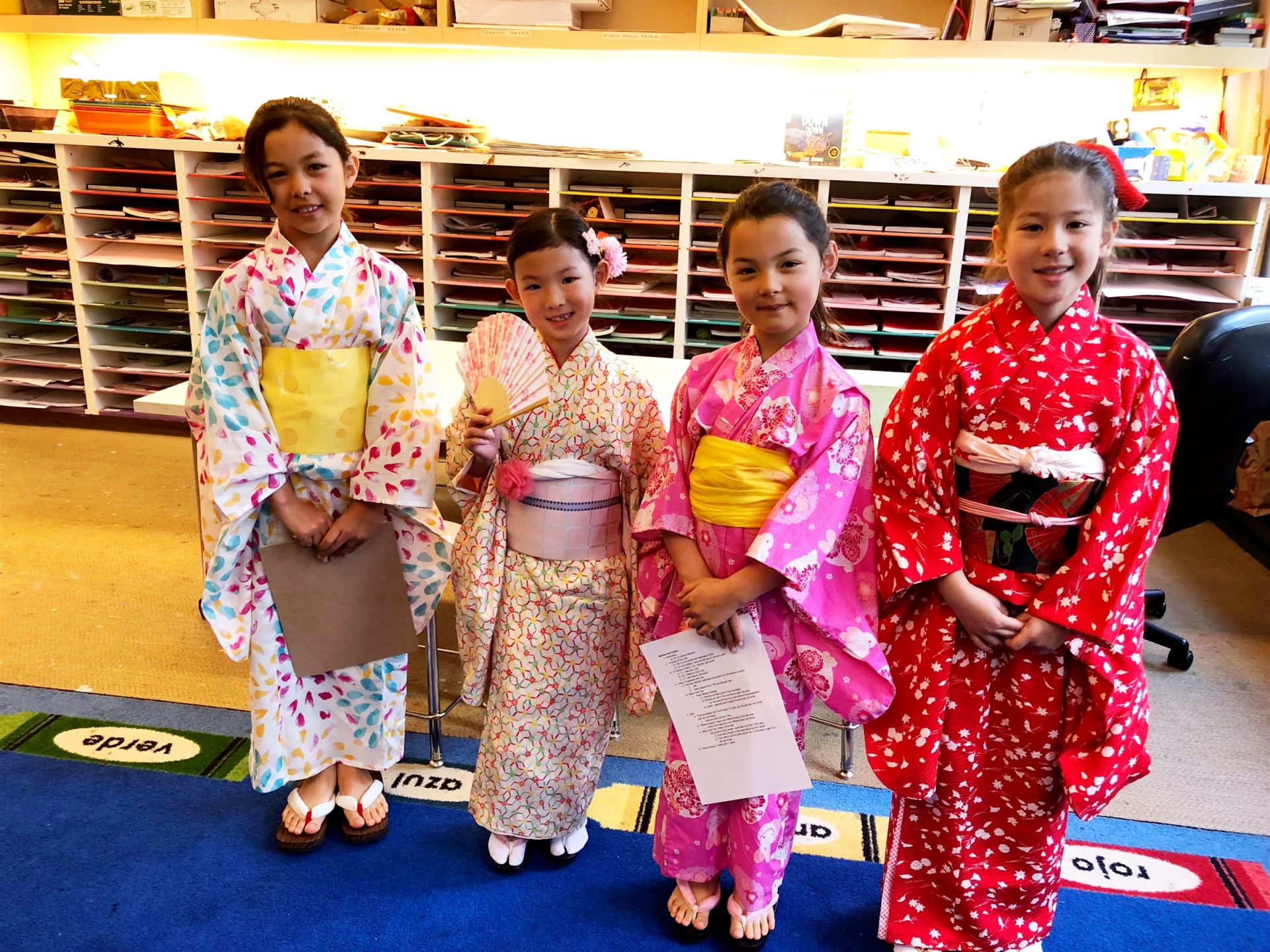 Students learn about Japanese culture at a Lower School assembly