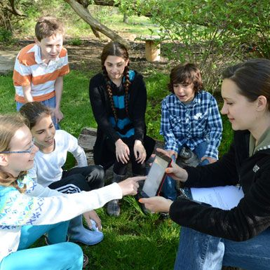 Student use the Outdoor Classroom year-round for cross-disciplinary studies.