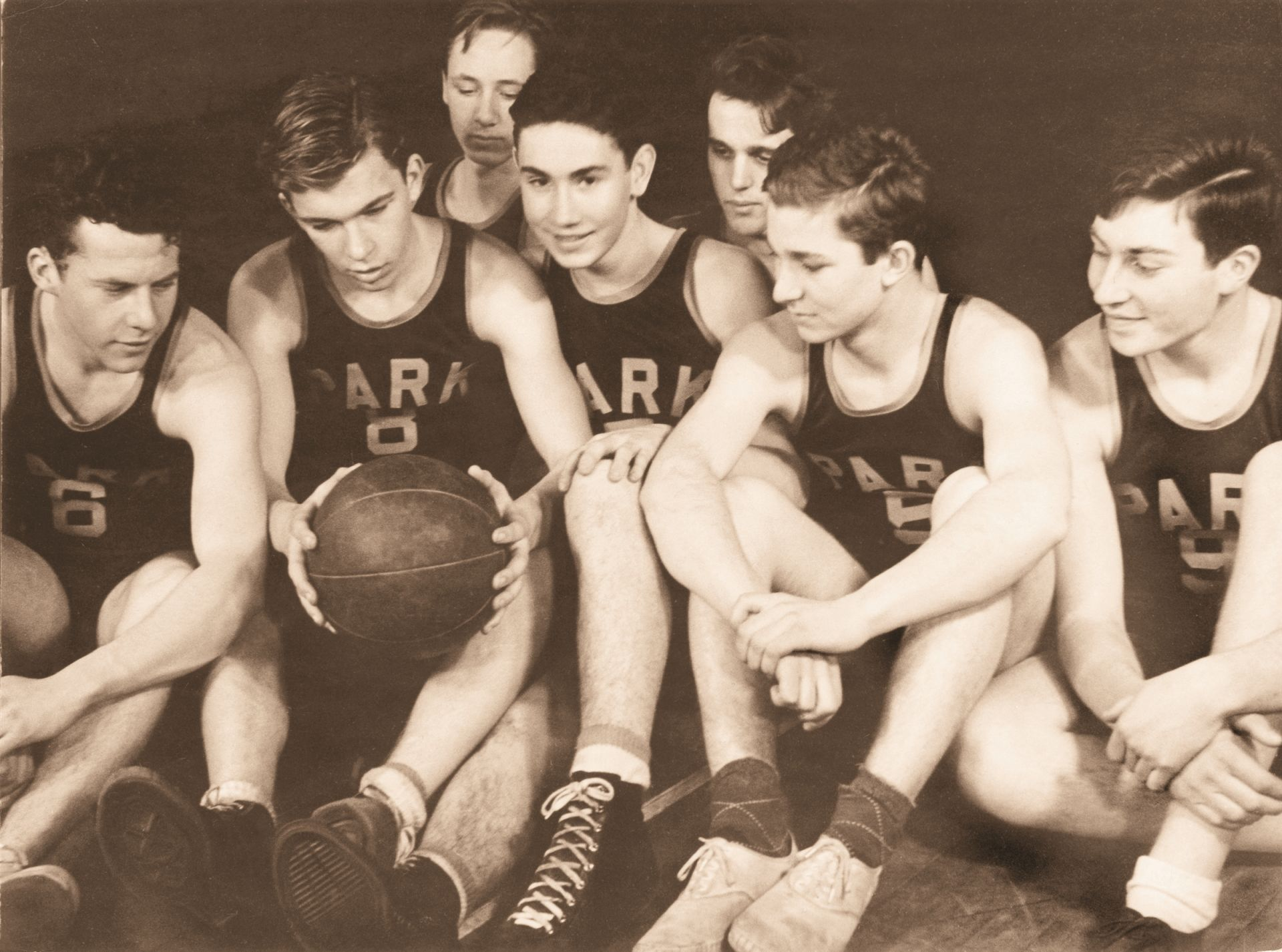The girls and boys varsity basketball teams compete in the Monsignor Martin League today. (c. 1940s)