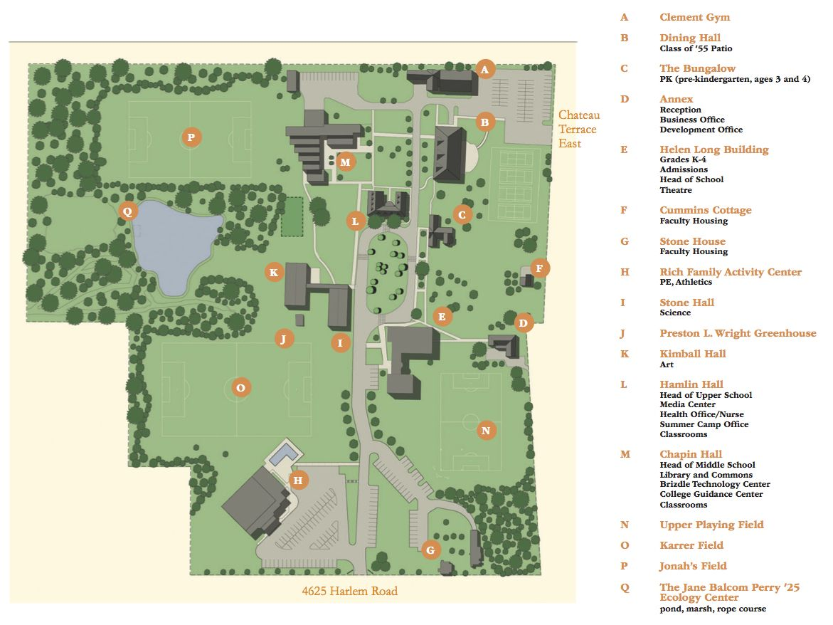 School Campus Map.Directions And Campus Map The Park School Of Buffalo