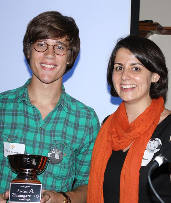 Alumni Senior Award winner Lucas Baumgart '10 and Rachel Hezel Rzayev '99