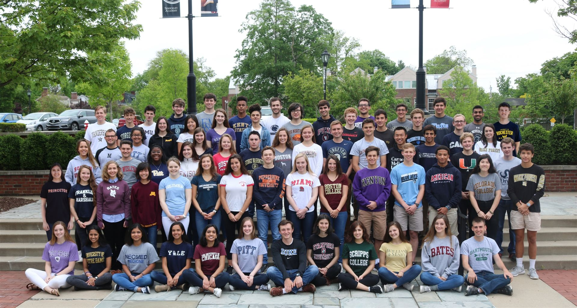 Check out the Class of 2017 wearing shirts representing their college choices.