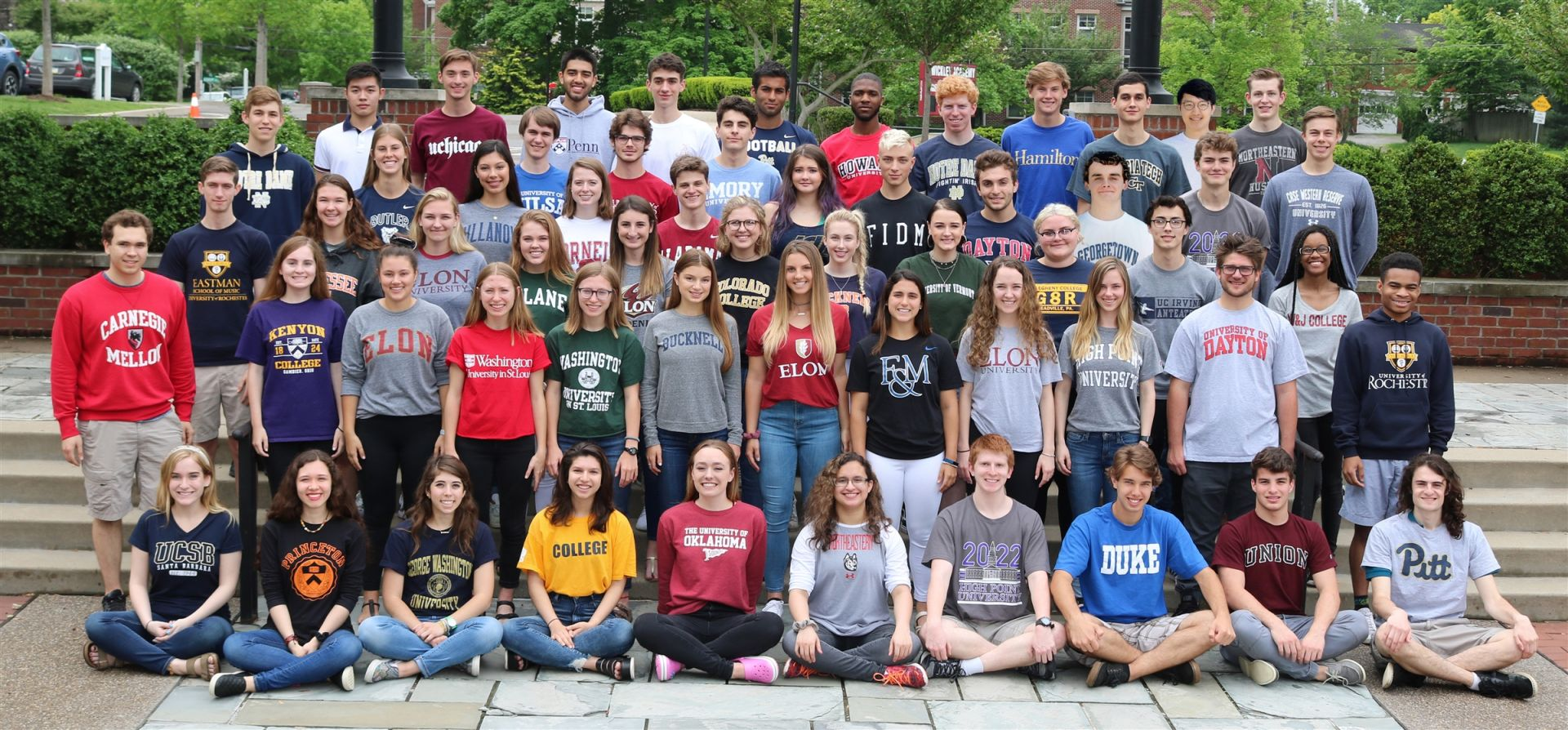 Check out the Class of 2018 wearing shirts representing their college choices.