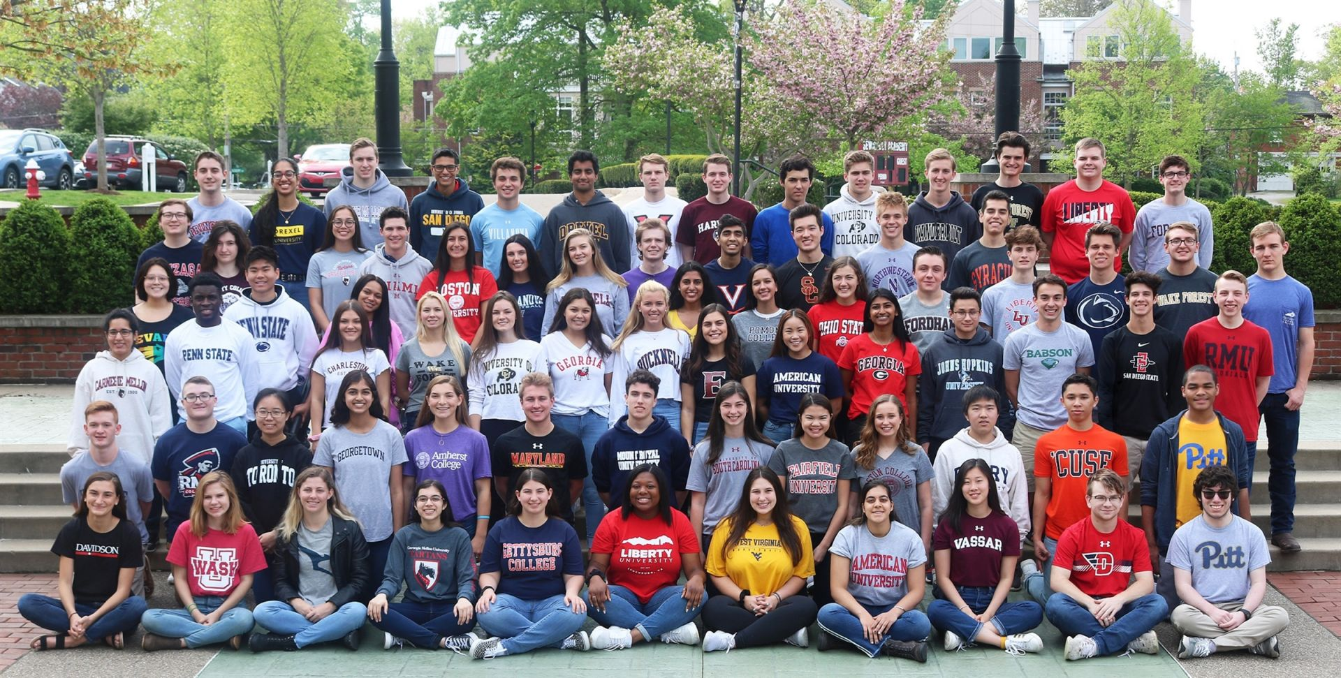 Check out the Class of 2019 wearing shirts representing their college choices.