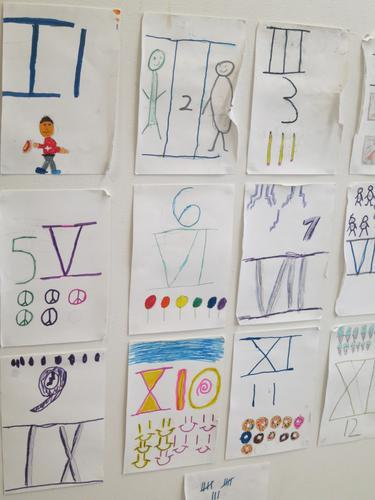The 8s learn Roman numerals, a significant element of C&C life, with their own visual aids.