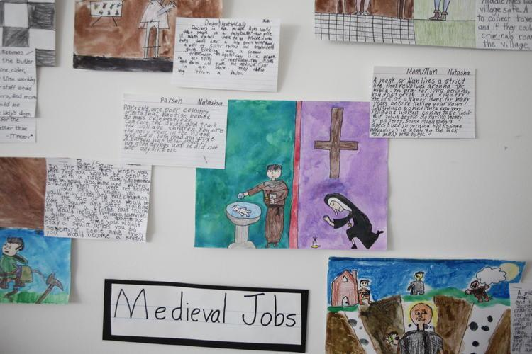 The 10s share their knowledge of medieval European societies through drawings and descriptions.