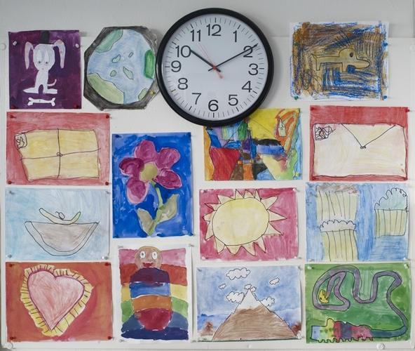 "The 8s design $0.07?stamps for their Post Office job. These drawings are reproduced as 1"" stickers that community members purchase so their mail can be delivered throughout the School."