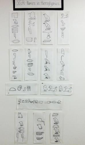 The 10s also write their names in hieroglyphics during their study of written communication and ancient Egypt.
