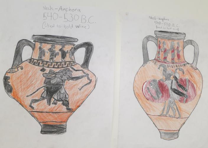 The 12s study Ancient Greece and replicate the style and designs found on iconic urns.