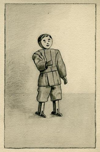 A boy from Pratt's original sketches of her line of Do-With toys.