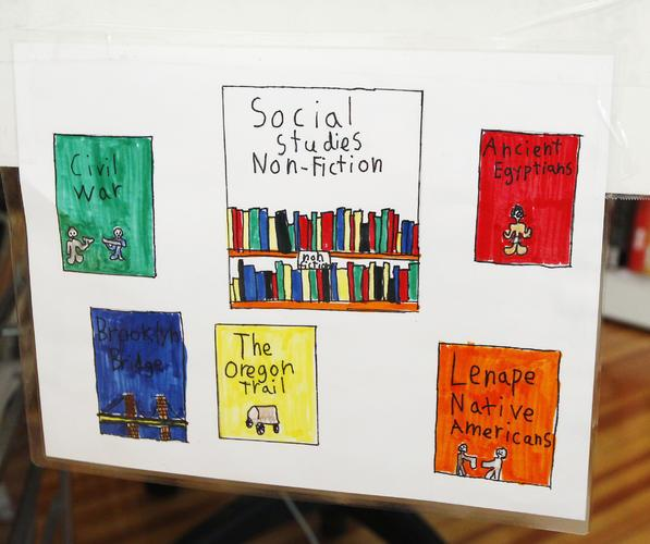 A Library sign, identifying frequently researched subject areas, made by the 10s.