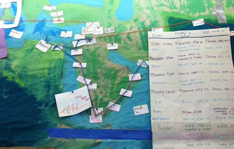An 11s-made map of the Silk Road includes information about the goods found along the route.