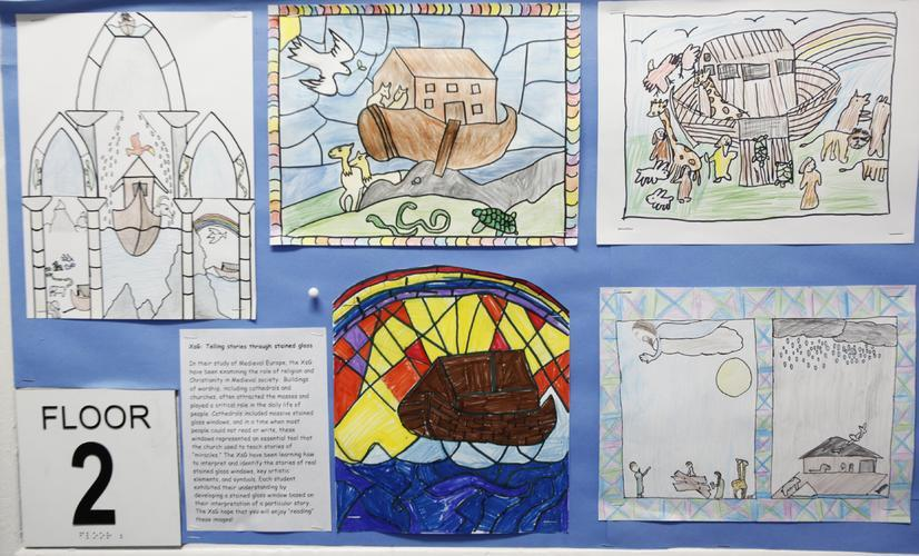 The 10s interpret the Christian stories of medieval Europe, utilizing the symbolism and artistic elements of the stained glass used during that period.