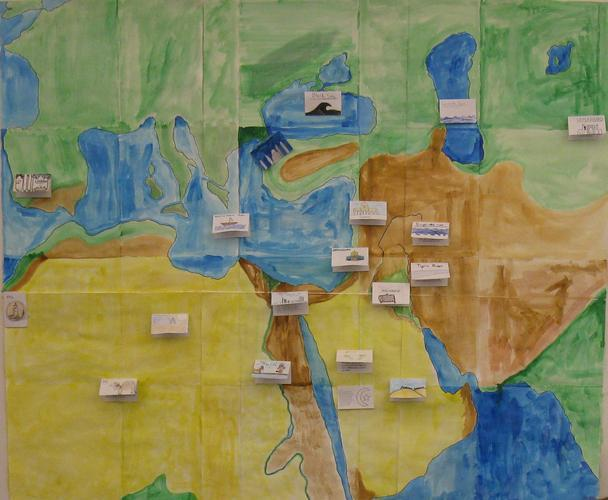 A 10s-created map of Europe, North Africa and the Middle East includes information on important places and goods.
