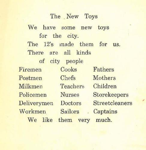 An XIs journal describes the toys made by the XIIs for the younger children.