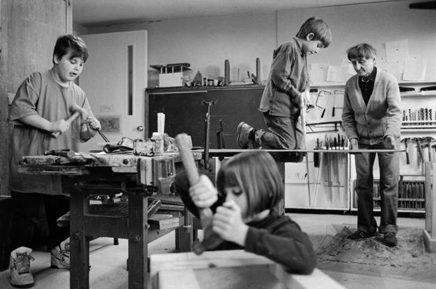 (Children in the Shop,1990)  Working with wood has always been central to the C&C program, allowing children to reinvent their world and studies through the design and construction of useful and creative objects.