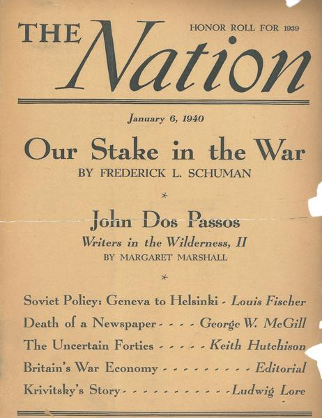 Cover of the Nation honoring Pratt, from the Pratt papers of the C&C Archives.