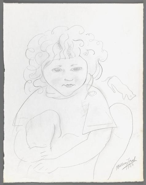 <p>Dahlov with Cat, William Zorach, 1920<br> Brooklyn Museum</p>