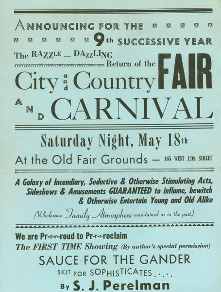 Poster advertising a skit written by humorist SJ Perelman, performances by Bernie West, Jane Dudley and Tony Kraber, lavish food and drink, and both wholesome and scintillating activities!