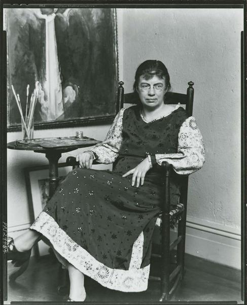 <p>Marguerite Zorach in her studio, photo by Peter A. Juley &amp; Son, undated<br /> Smithsonian Institution</p>