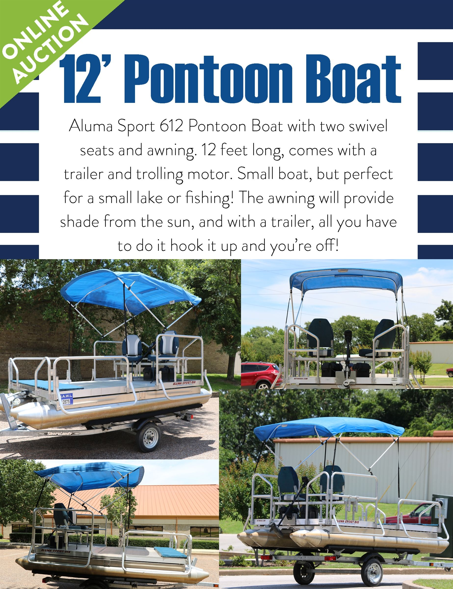 12 foot Pontoon Boat with Trailer