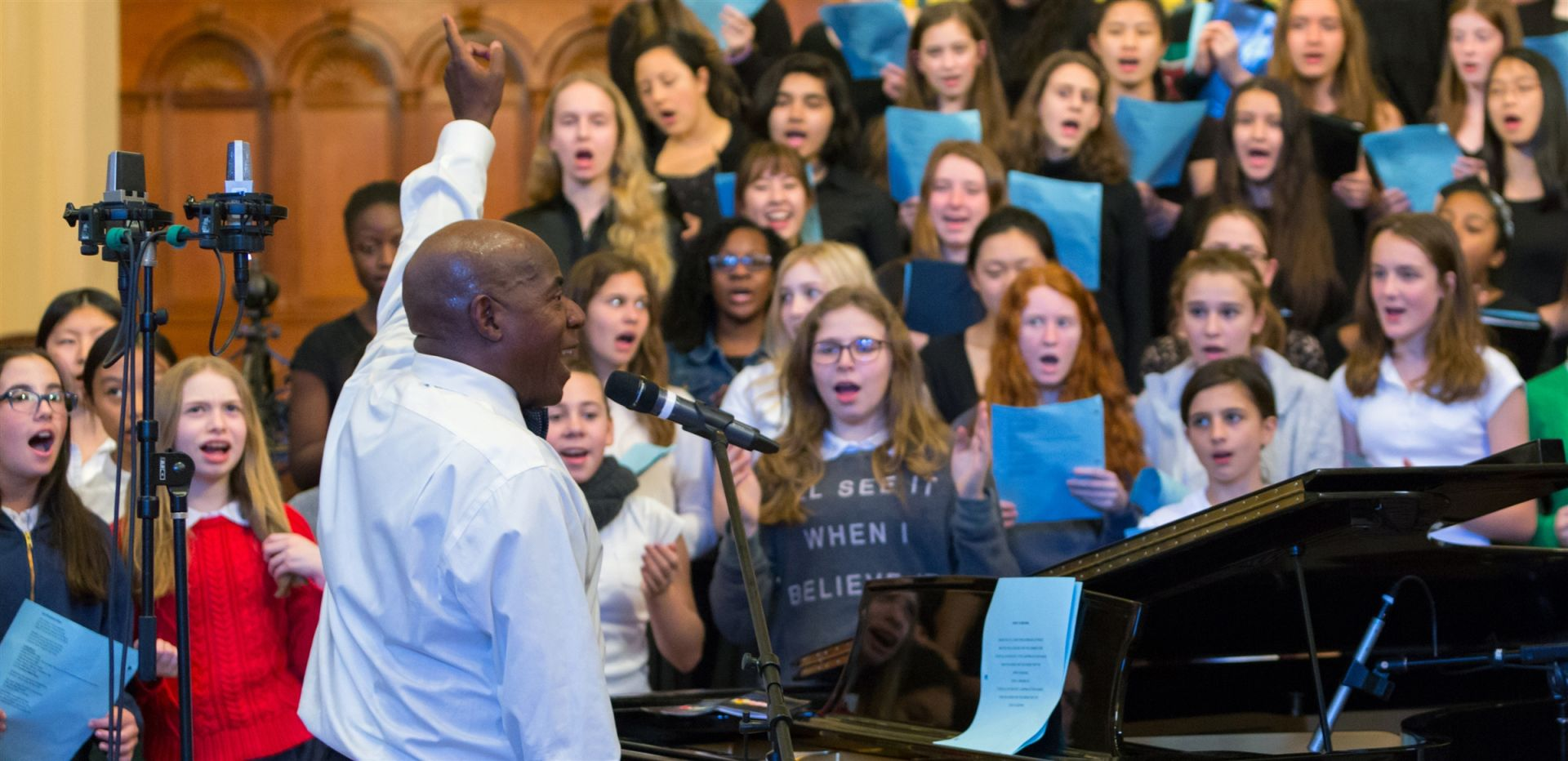 Michael Brown, a composer, pianist, and singer, visits Spence to train students in Gospel music.