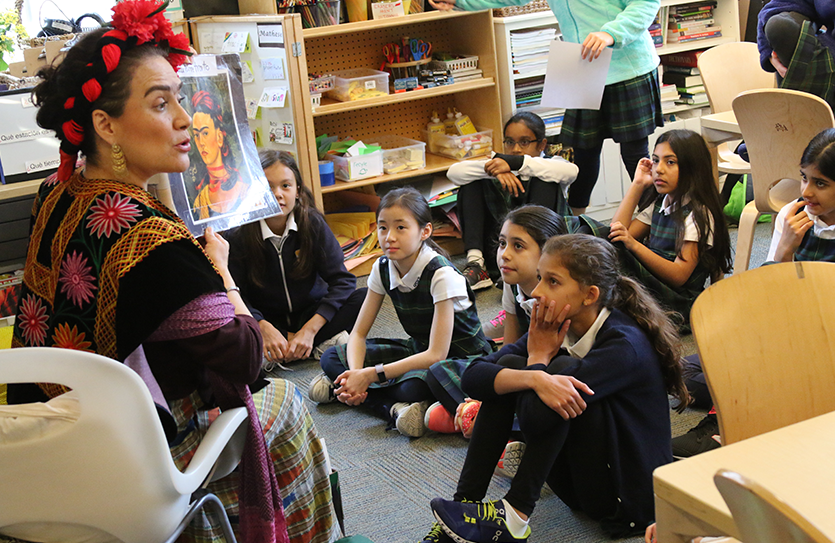 "Artist ""Frida Kahlo"" makes a visit to the classroom, offering lessons in Spanish language, history and the arts."