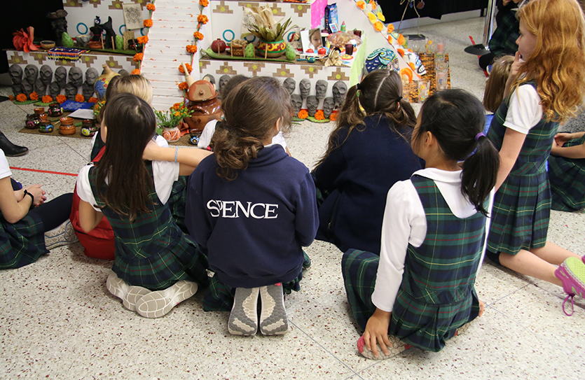 Grade 3 visits life-size ofrendas (altars) at Museo del Barrio and takes a bilingual tour to learn about the importance of the Día de los Muertos holiday for immigrant families in the United States.