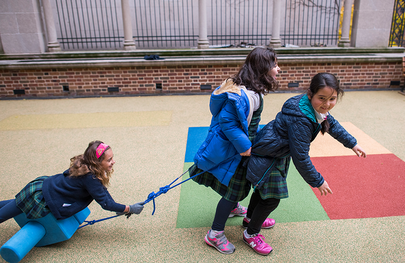 The Lower School terrace is designed for children to have unstructured play time.