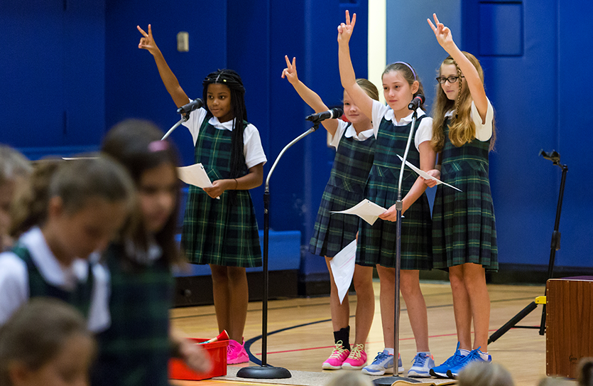 The weekly Lower School Community Time provides opportunities to share news, announcements and special presentations.