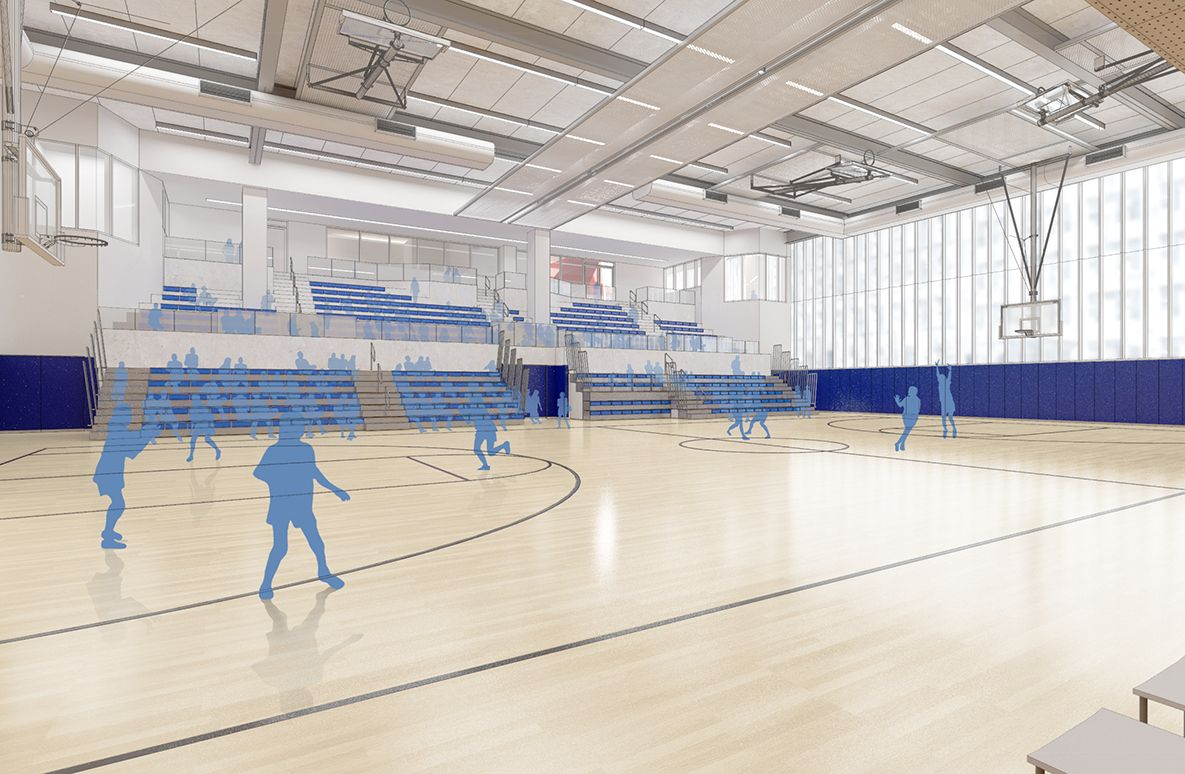 The gymnasium, which is twice as big as the 91st Street gym, features regulation-size courts for basketball and volleyball, spectator seating capacity expandable to 452 and flexibility to allow two side-by-side practice courts.