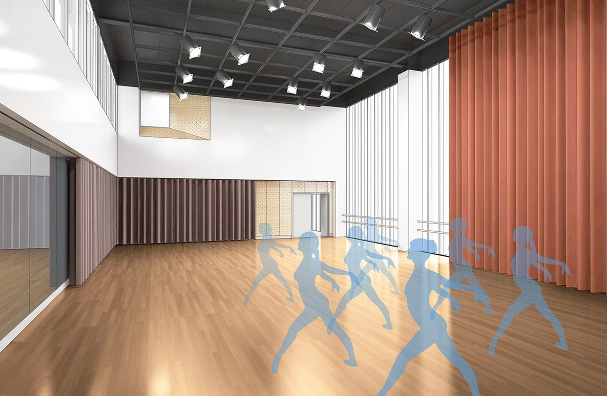 The double-height multipurpose room is outfitted with a professional-grade sprung floor, barres and dance mirrors, theatrical lighting and two projection screens.