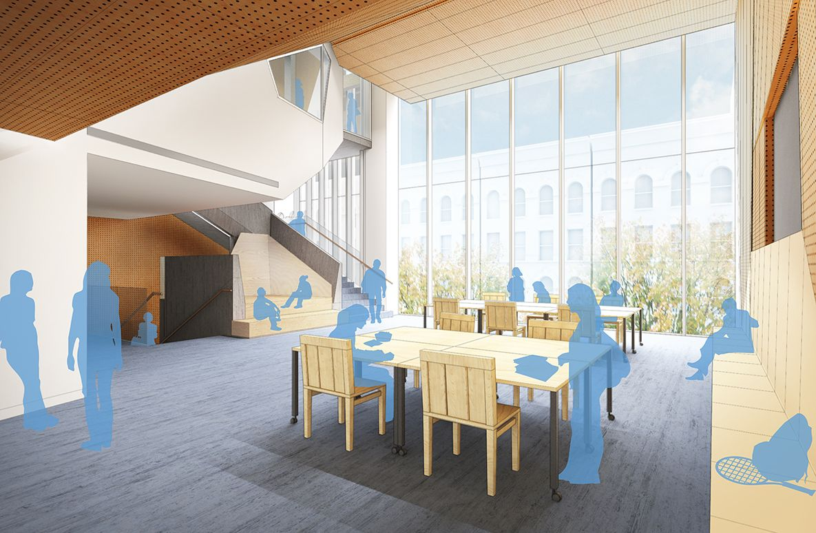 The student lounge area, with a little food-service kitchen, is a space that will be shared after school by the athletes and the dancers and by the after-school programs.