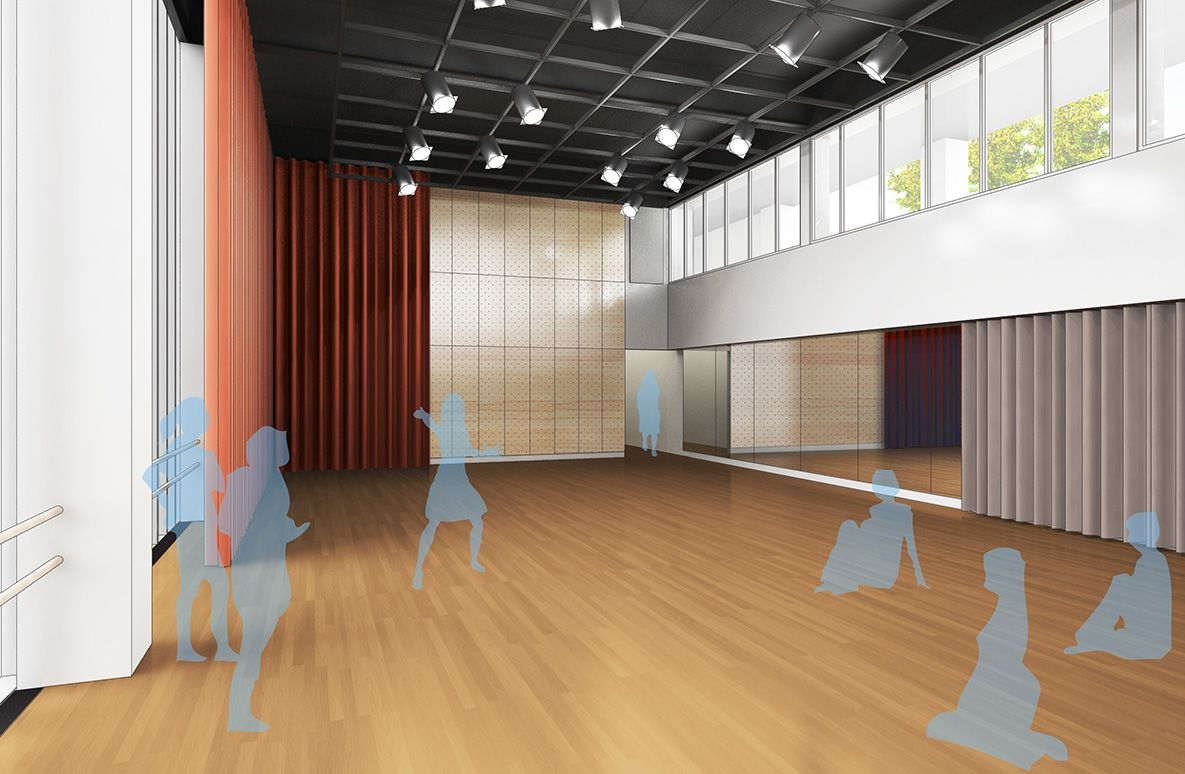 The fifth-floor space, with seating capacity for 165, is designed as a rehearsal and performance space for dance and theater, as well as workshops and lectures.