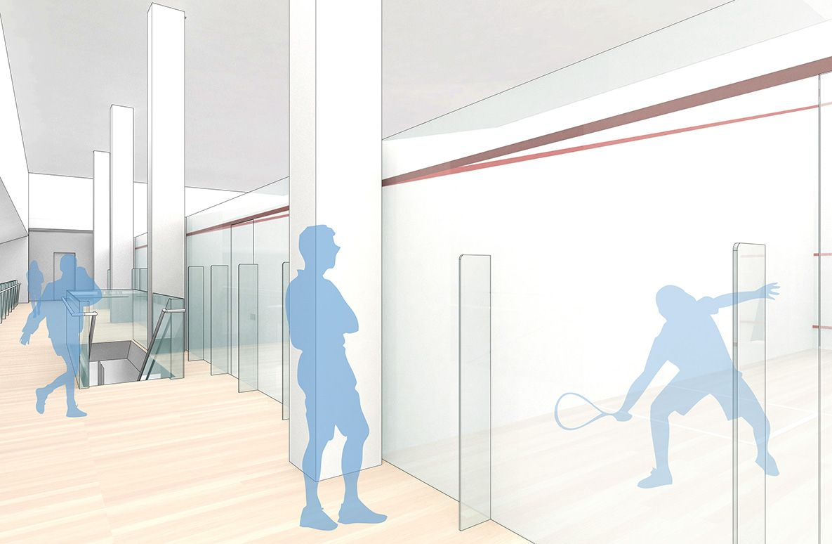 Nine regulation single squash courts create a premier venue in the city.
