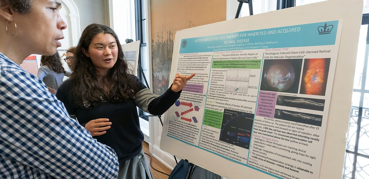 Mary Ben A. '19 is focusing her ISR research on Stem Cell Therapy for Retinal disease. Students create a testable hypotheses, work with a mentor in the field and conduct research as a part of the Independent Science Research, a three-year science elective.