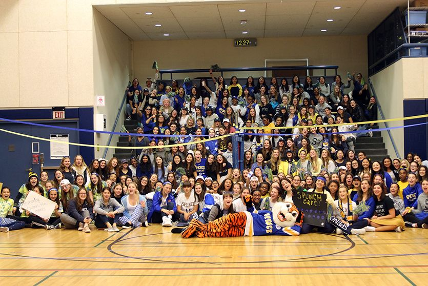The Upper School and Spencer the Saber gather for a pep rally during Spirit Week.