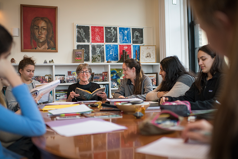 Head of School Bodie Brizendine teaches English in her office.