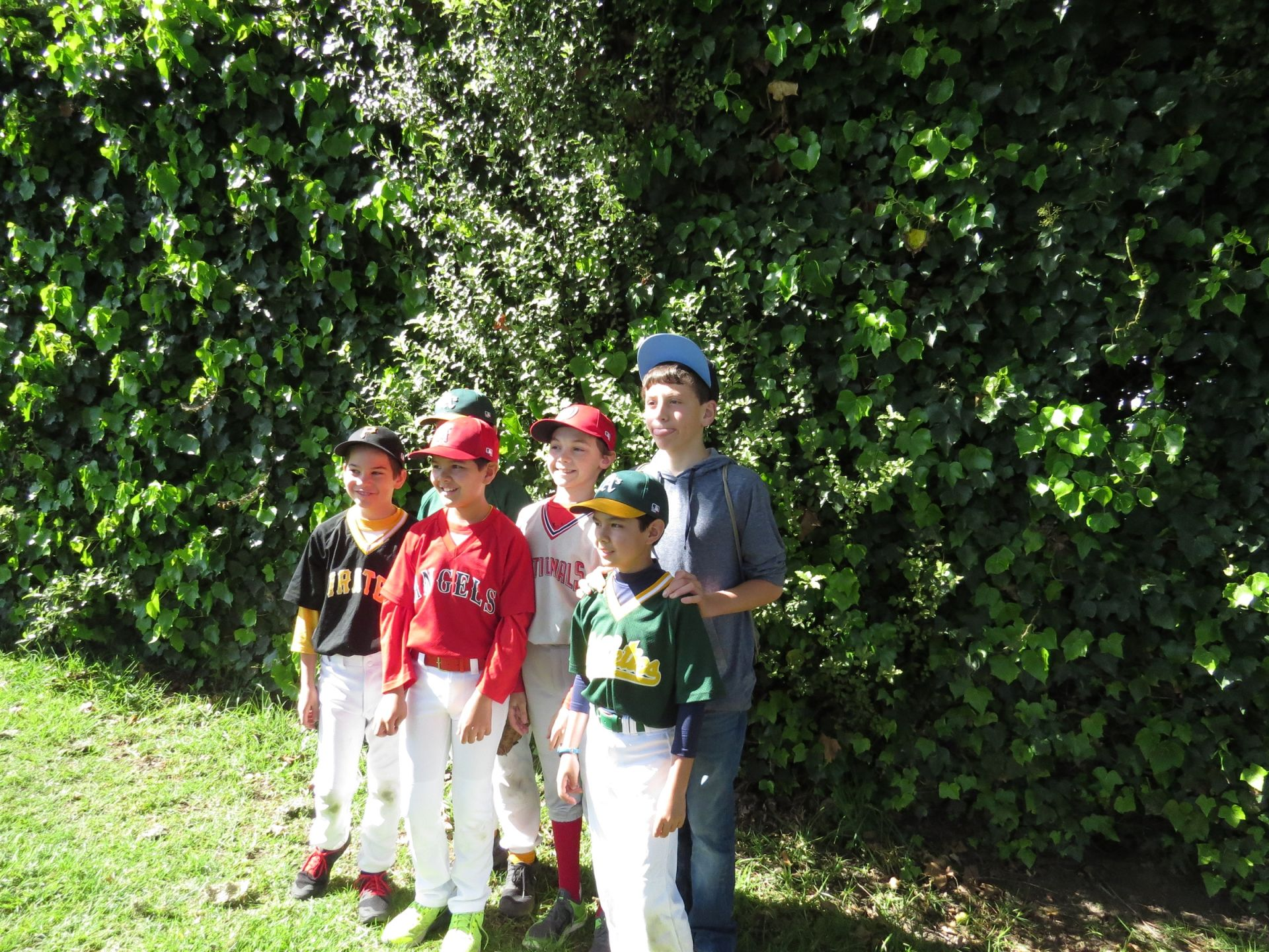 Relaxing before singing the National Anthem at SF Little League opening.