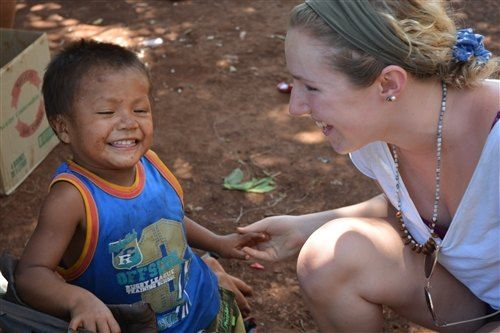Caroline bonds with local children on her Shorecrest Service Week Trips