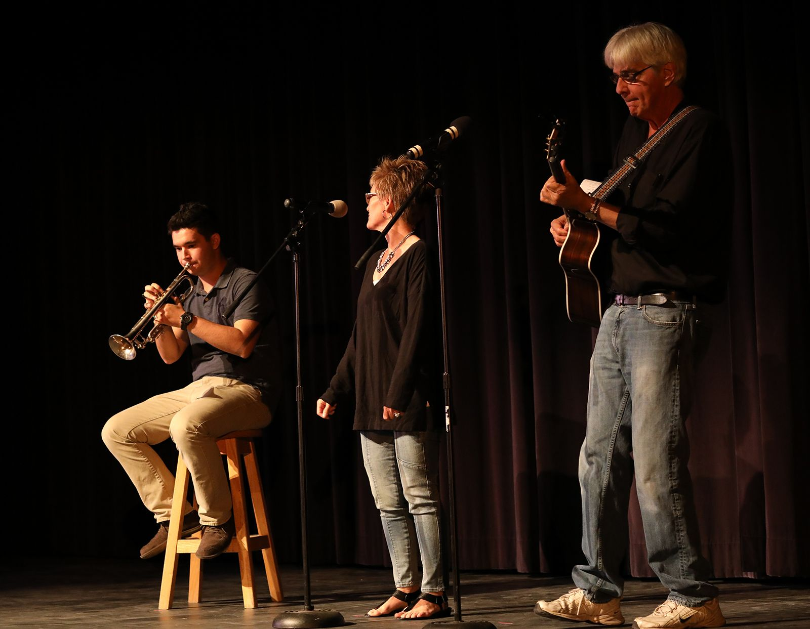 Carter and Mr. Ahlin accompany Mrs. Vivio at the 2016 Fall Showcase