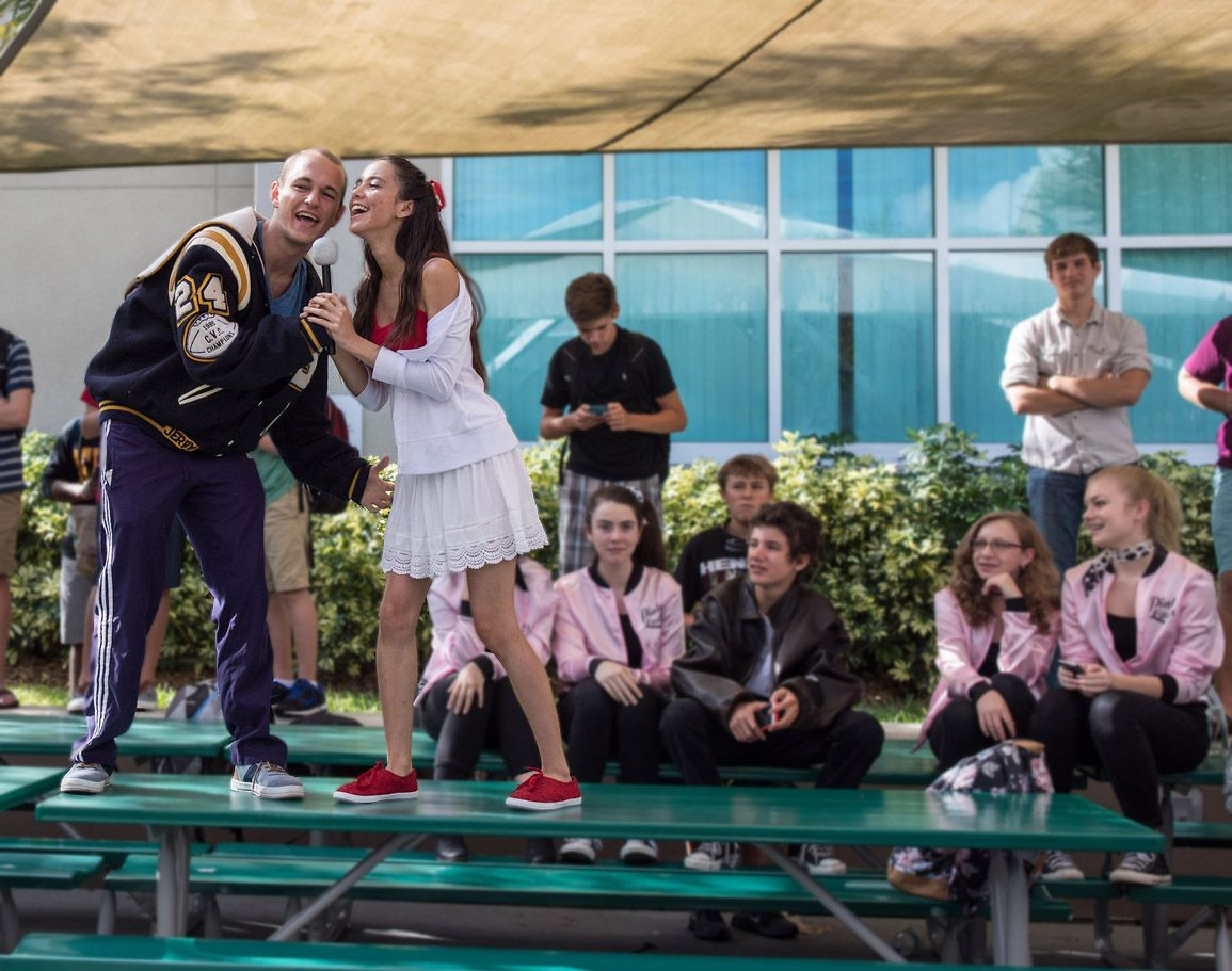 Jack Lavely and Lucy Weiskopf channel their inner Troy and Gabriella during Homecoming week