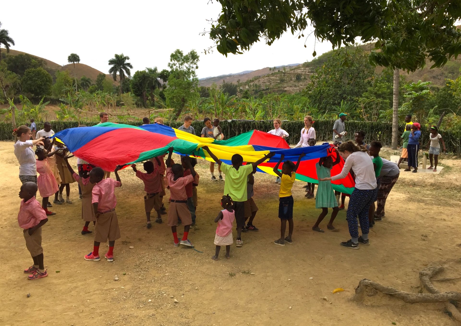 Students with children from Christ Roi School in Haiti - St. Andrew's Episcopal School